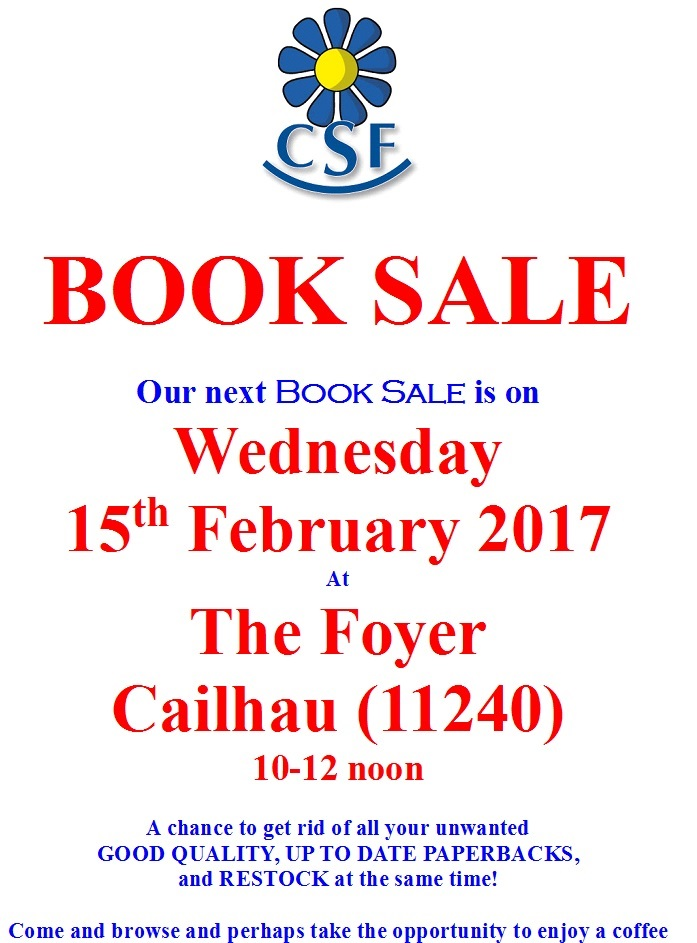 CSF Booksale 15Feb17